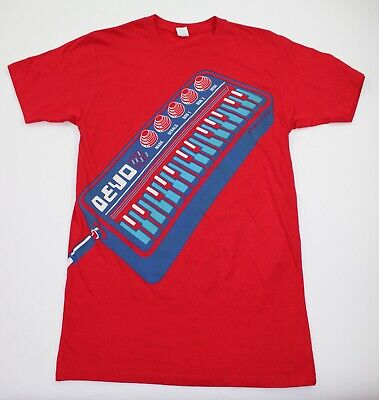 Devo Mens Medium KII Arens Graphic Offiicial Tour Double Sided Red T Shirt