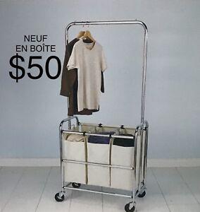 NEUF EN BOÎTE Rack à linge 3 paniers. $50