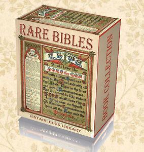 55 Rare Antique Ancient Bibles on 2 DVD Coverdale Geneva Douay Rheims Matthew 53