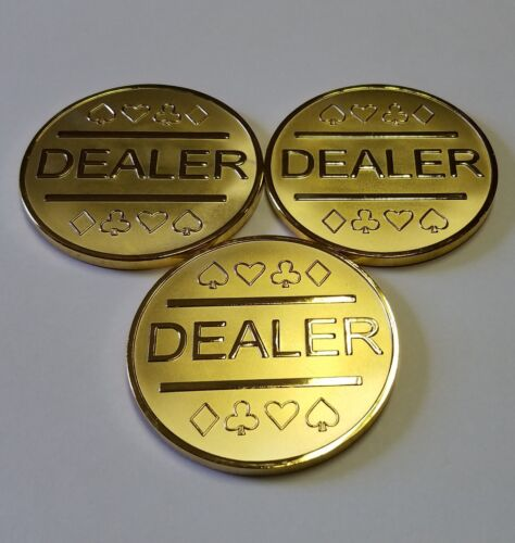 3x Gold Plated Metal Dealer Buttons for Poker Games such as Texas Hold