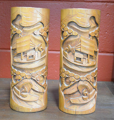 Antique BAMBOO BRUSH POT Chinese Folk Art Bas Relief Wooden Carving