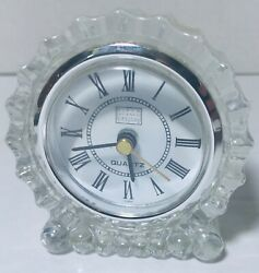 FIFTH AVENUE CRYSTAL LTD STARBURST CRYSTAL CLOCK 3 TALL ROUND TABLE/SHELF/DESK