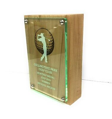 Personalised Solid Beech and Perspex Golf Trophy Award Golf Trophies And Awards