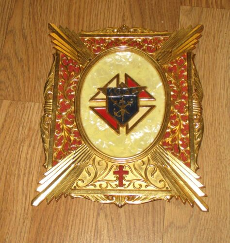VINTAGE KNIGHTS OF COLOMBUS MEMORIAL PLAQUE PEARL INLAY WITH GOLD ACCENTS