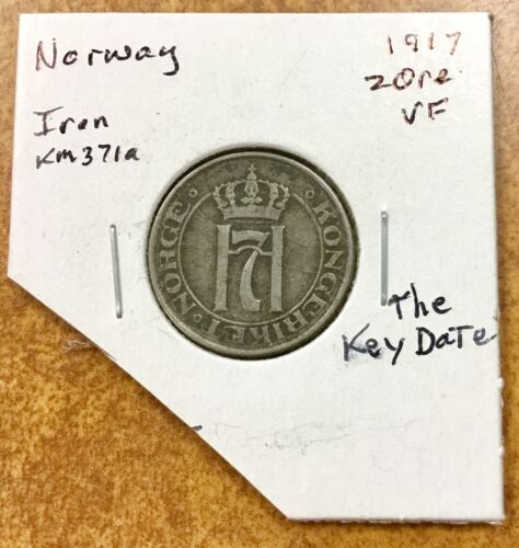 1917 NORWAY 2 ORE Coin -  IRON scarce Key date, nice die cracks