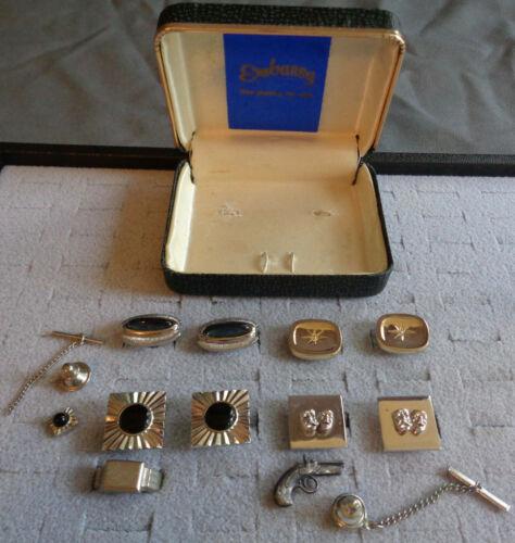 7 Pc Vintage Mens Jewelry Lot + Embassy Box Cuff Links Tie Tacks Set Nickel Ring