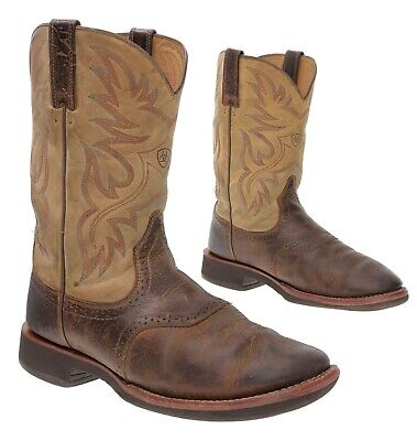 ARIAT Cowboy Boots 10.5 EE Mens BUCKAROO Square Toe Leather Western Boots Work