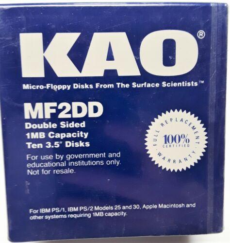 "KAO MF2DD Double Sided 1MB Capacity ~ box of ten 3.5"" micro-floppy disks IBM/MAC"
