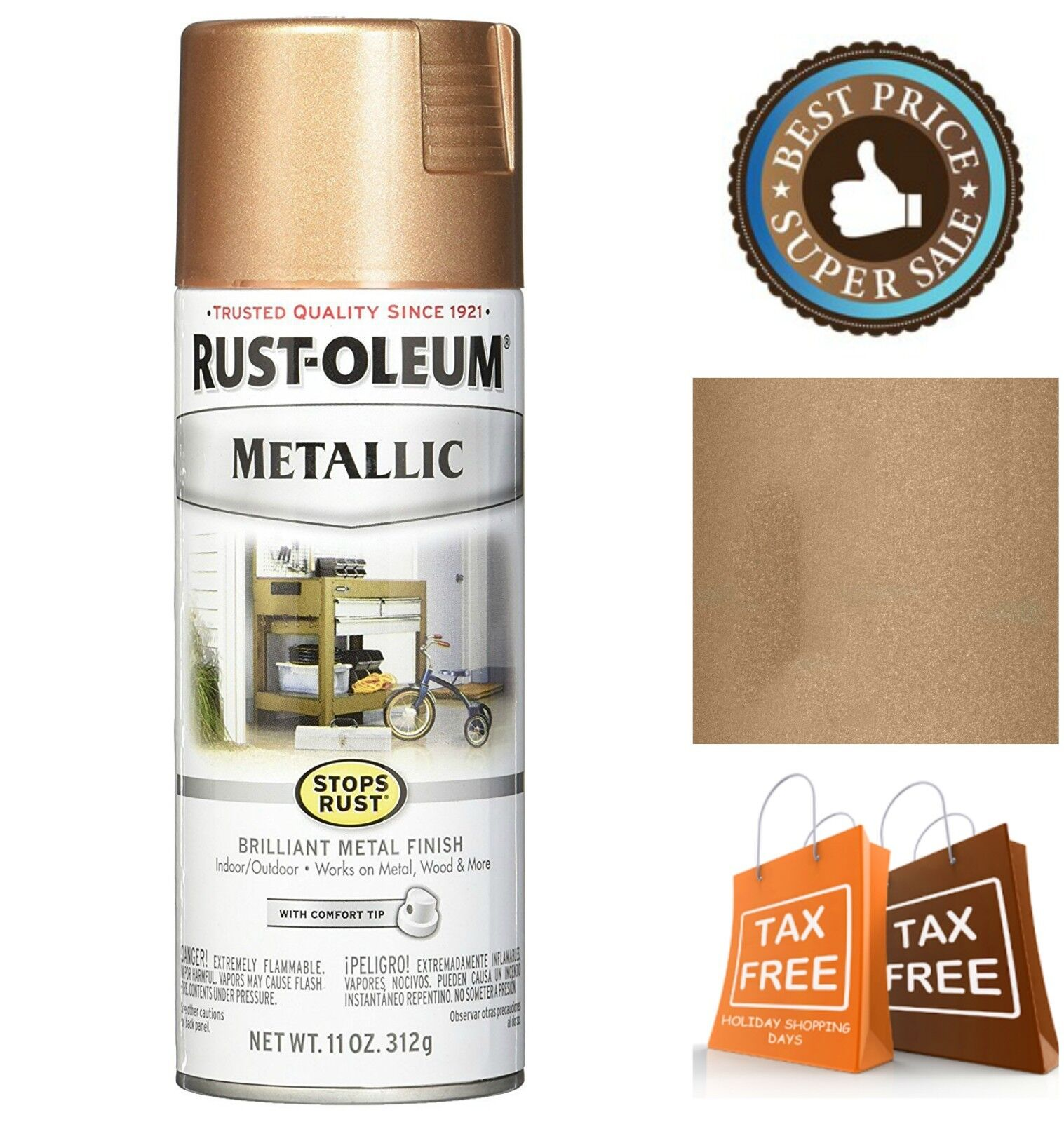 Rust-Oleum Stops Rust Metallic Spray Paint 11-Oz Rose Gold W
