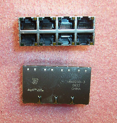 QTY (10) 1840230-3 TYCO 8 PORT Mag45 OFFSET GIG MODULAR JACK W/ LEDS S8G31 ROHS