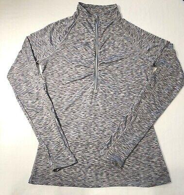 Athleta Gray Long Sleeve Zipper Pullover Size Small Thumbholes Back Zip Pocket Back Zipper Long Sleeve
