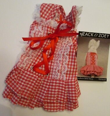 East Side Collection Dog SOUTHERN BELLE Corset DRESS XXS NEW PET Valentine Check