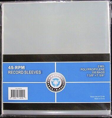 "500 NEW CSP PLASTIC 45 RPM RECORD SLEEVES 2 MIL 7 3/8 x 7 5/8"""