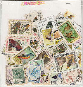 034-BIRD-034-Theme-wise-CTO-stamps-pack-of-100-Different-Rare-Theme