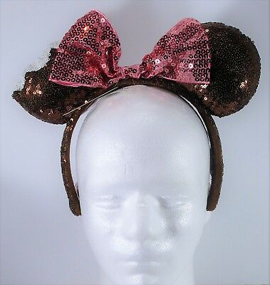 Disney Exclusive Minnie Ears Sequins Chocolate Ice Cream Bar Headband NEW CUTE