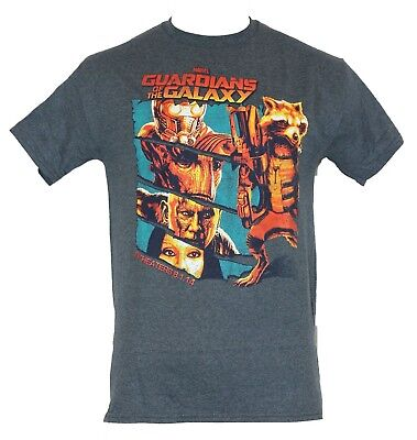 Guardians of the Galaxy Mens T-Shirt - Slashed Movie Hero Images w/ Release (Release Date Of Guardians Of The Galaxy)