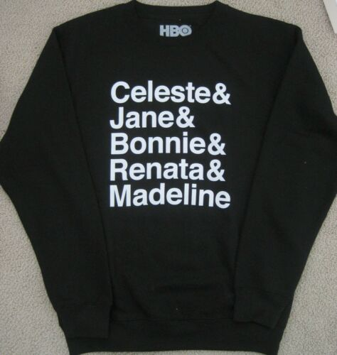 BIG LITTLE LIES HBO OFFICIAL PROMO BLACK SWEATSHIRT CHARACTER NAMES SMALL NEW!