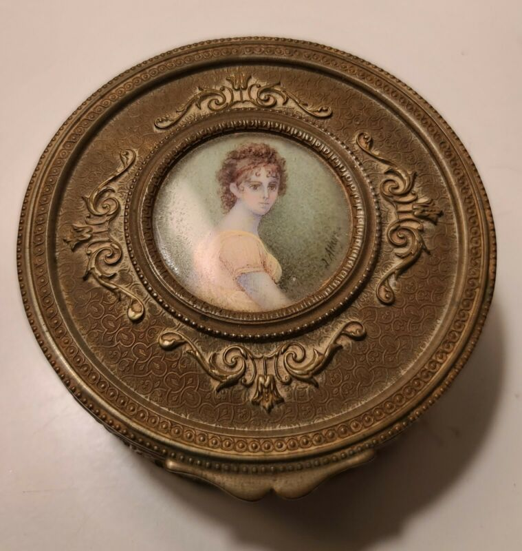 Antique French brass box w/hand painted miniature portrait on lid