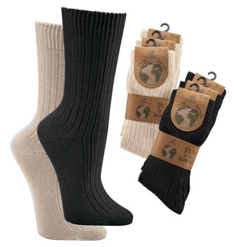 Socken 100% Bio-Baumwolle Herren Damen Strümpfe schadstofffrei Wellness 3-9 Paar