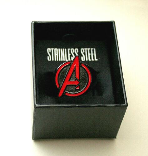 Marvel Comics Classic Avengers Logo Black Stainless Steel Ring New Sz 12 Box