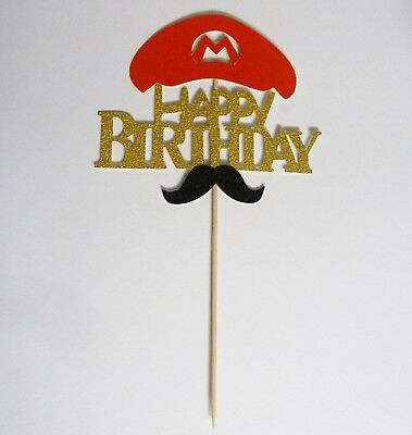 Mario Brothers Theme Birthday Party Decoration Cake Topper/Center Piece Glitter  - Mario Bros Party Theme