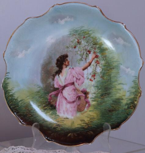 "Vintage Victoria Austria Portreit scene Cabinet Plate Zalzka 10"""