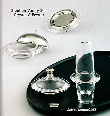 NEW STEUBEN Glass SATURN PERFUME RING BOX VASE & ROSE BOWL VANITY Fair set heart