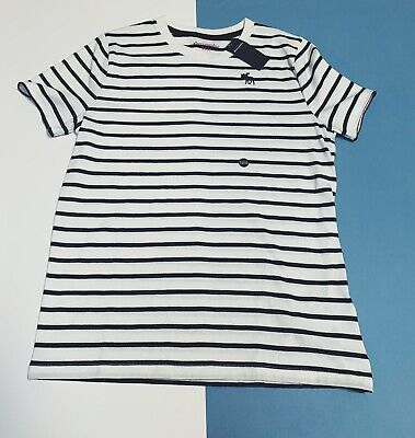 Kids Black and White Striped Abercrombie T-shirt Size 15-16