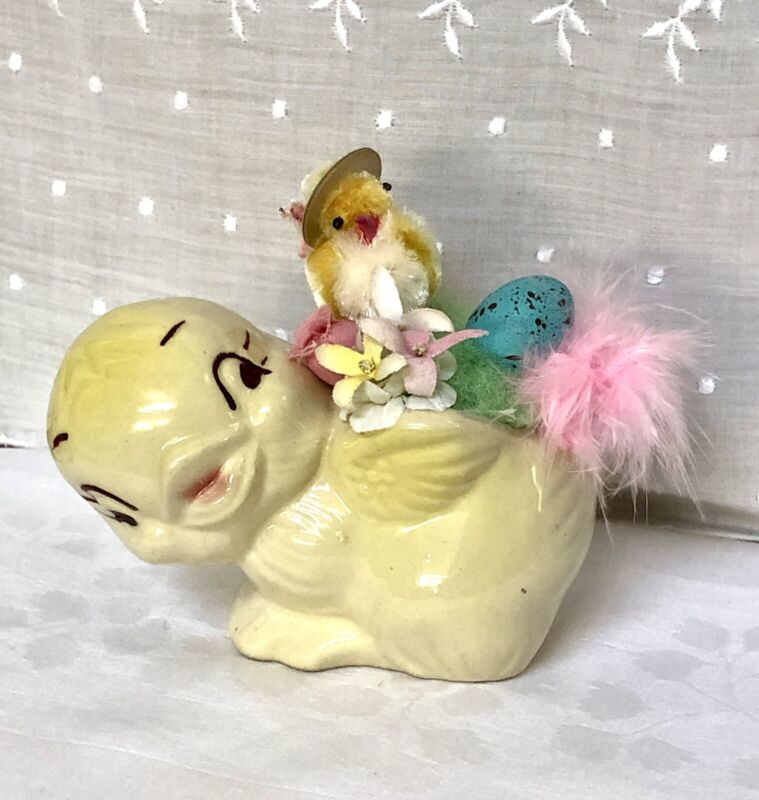 Vtg Ceramic Shawnee Bird.Easter Planter with Chenille Chick.Flowers.Cute!