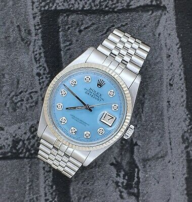 Mens Steel & White Gold Rolex Oyster Perpetual Datejust - Ice Blue Diamond Dial