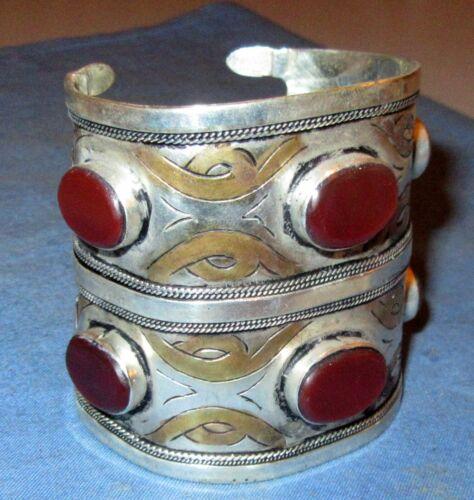 "Bracelet Gemstone DOUBLE Cuff Afghan Kuchi Tribal Alpaca Silver 3"" dia 4"" height"