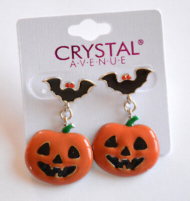 Halloween Pumpkin & Bats Post Earrings / Silver-tone Set / Orange Jack-o-Lantern - Post Halloween Pumpkin
