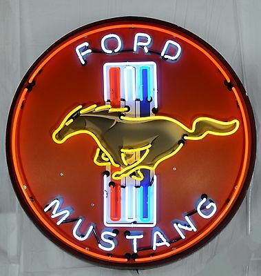 "Giant Ford Mustang 3 Ft. 36"" Round Neon Sign 9MUSTB w/ Free Shipping"