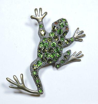 Green Rhinestone Frog Brooch Pin  JL1641