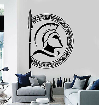 Vinyl Wall Decal Warrior Ancient Greek Symbols Helmet History Stickers (g1147) ()