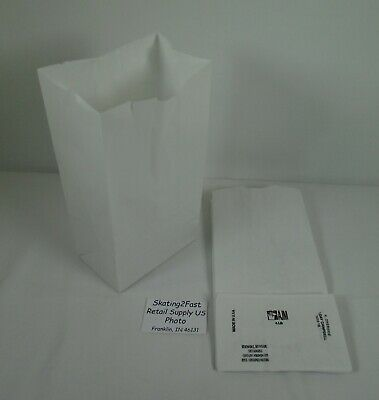 Qty 100 #4 Paper Bleached White Grocery Merchandise Retail Shopping Bags