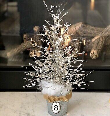 "Silver Christmas Tree In Galvanized Tin Bucket Tabletop 22"" x 12"" FARMHOUSE"