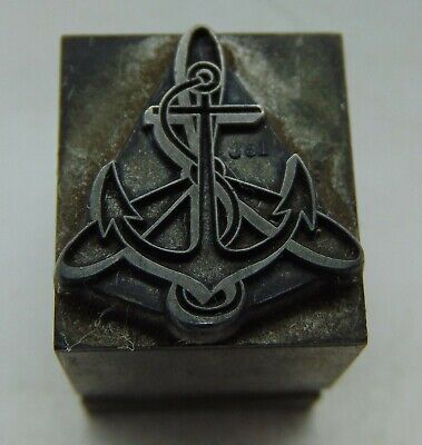 Printing Letterpress Printers Block Lead Ship Anchor Possibly Navy