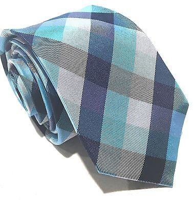 "Mens Express Neck Tie Slim Skinny 100% Silk White Blue Aqua 2.75"" Narrow Check"
