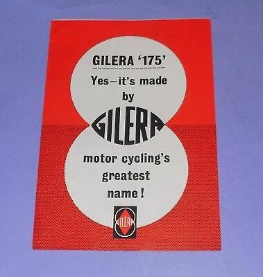 * VERY RARE * ORIGINAL * 1950's * GILERA 175 * MOTORCYCLE SALES BROCHURE *