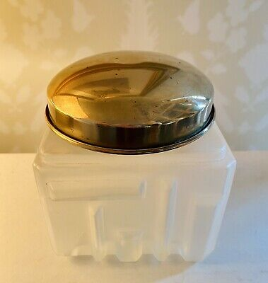 """Vintage Art Deco Frosted Glass, Brass Lid, Square Vanity Jar/ Box, 3.5"""" x 3.5"""""""