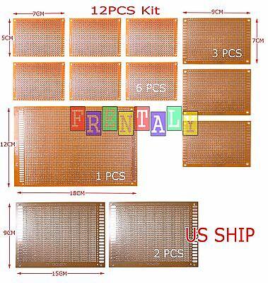 12pcs KIT Prototyping PCB Printed Circuit Board Prototype Breadboard Stripboard