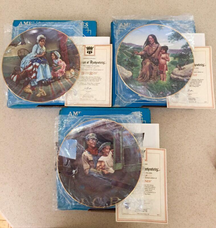 American Folk Heroes Plates Lot Betsy Ross Sacajawea Casey Jones '85 '86 '87