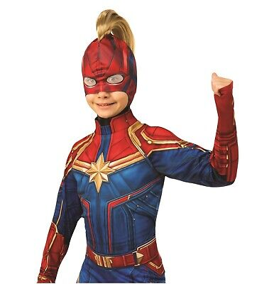 Masquerade Costumes For Girls (Captain Marvel Mask with Hair Mohawk Ponytail Girls Child Costume Accessory)