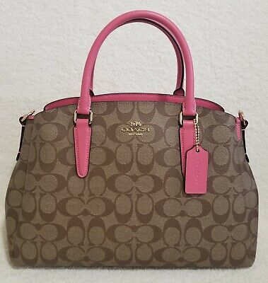 NWT Coach Signature Sage Khaki Pink Satchel Chain Bag F29683