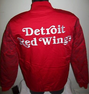 DETROIT RED WINGS Starter Satin Snap Down Jacket NHL Logos on Sleeves S  L XL ()