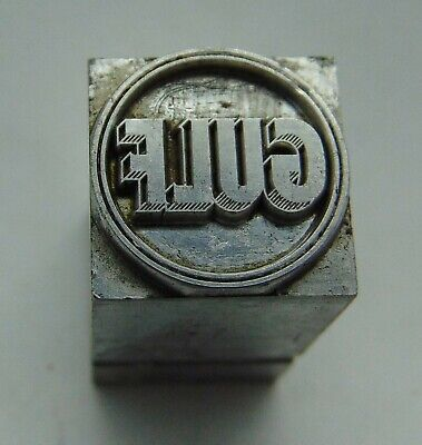 Vintage Printing Letterpress Printers Block All Lead Gulf Gas Logo