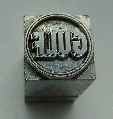 Vintage Printing Letterpress Printers Block All Lead Gulf Gas Logo