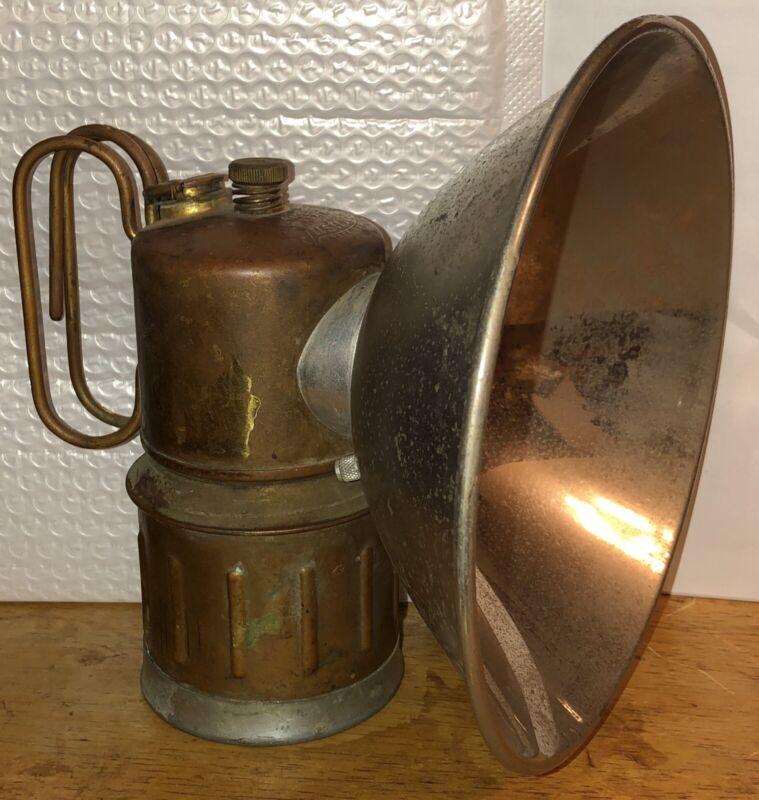 ViNTAGE ANTIQUE JUSTRITE  CARBIDE MINERS LAMP LIGHT CAMP LANTERN