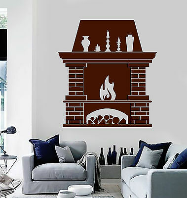 Viny Wall Decal Fireplace Fire Home Interior Room Stickers